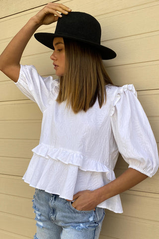 Jackie Ruffle Detail Top