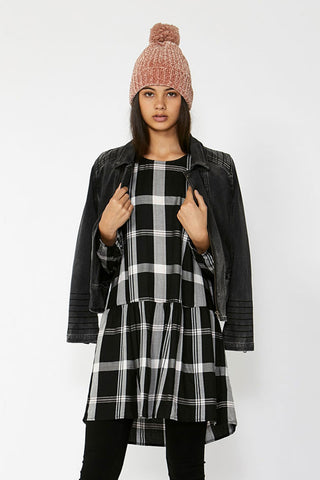 Kids Long Sleeve Check Dress
