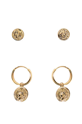 Kids Coin Hoop 2 Pack Earrings