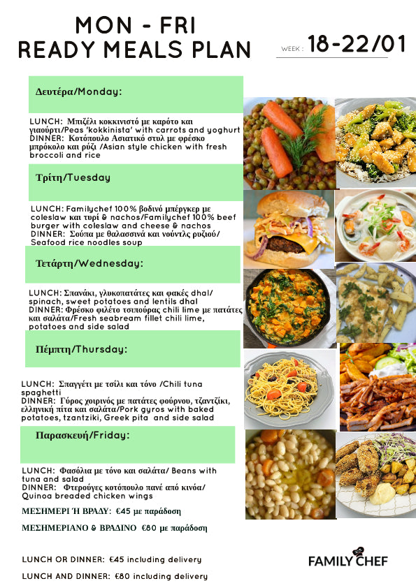 COOKED MEALS PLAN  18-22/1