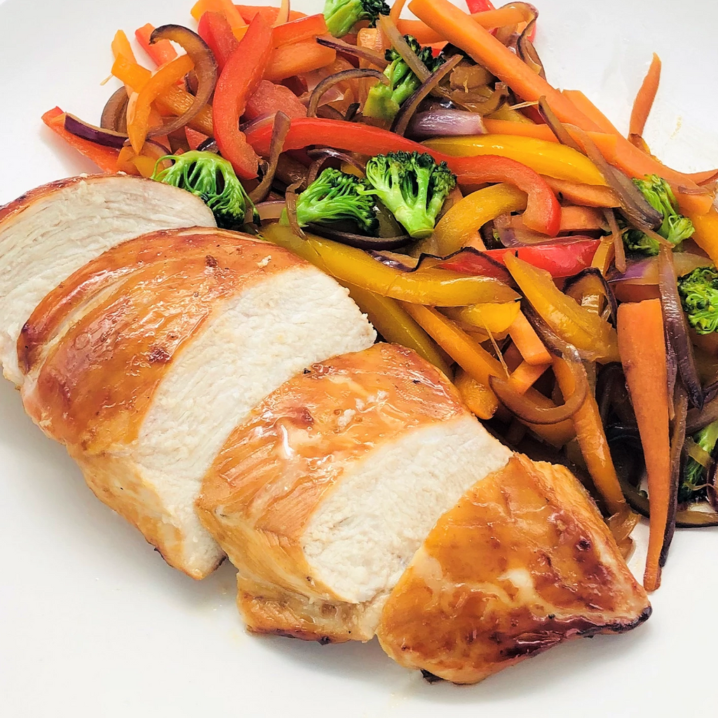 30΄  Chicken Teriyaki With Vegetables per person