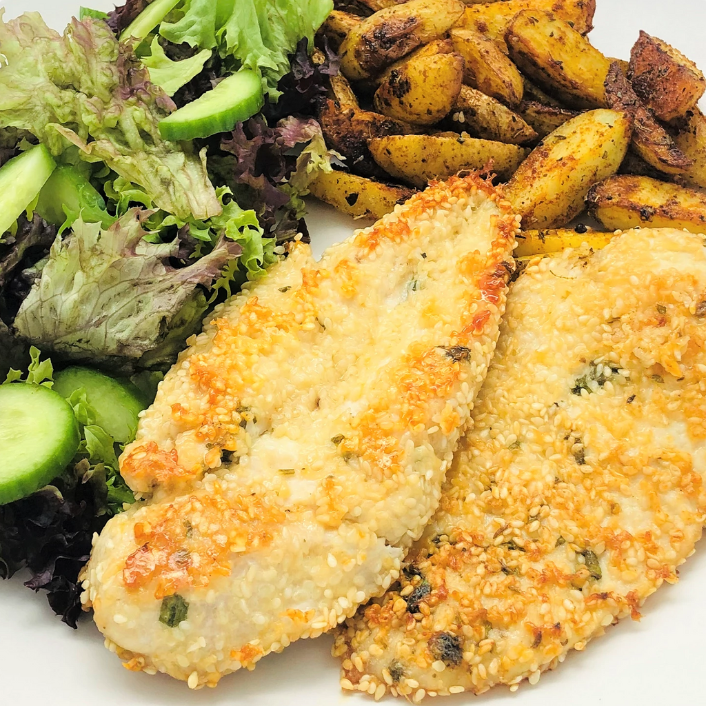 Familychef 25 ́ Chicken With Sesame & Parmesan plate