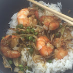 Familychef Shrimp Asian style plate close up