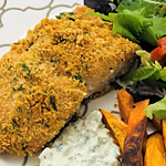 Familychef 30' Crumbed Salmon With Sweet Potatoes plate