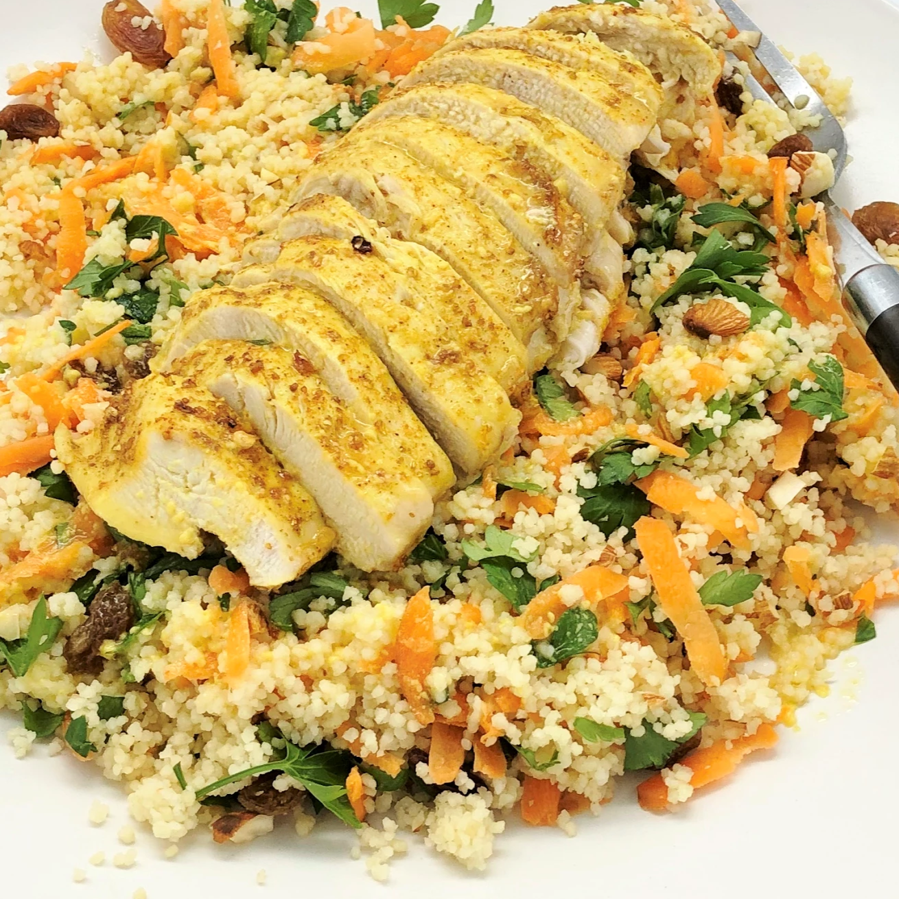 Familychef 25' Moroccan Chicken With Couscous & Carrot Salad plate