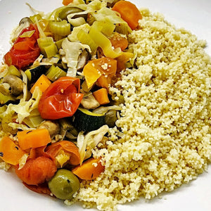 Familychef 30' Baked Vegetables With Couscous plate - Vegan