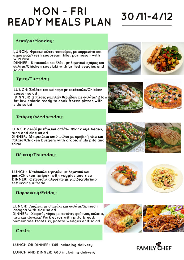 COOKED MEALS PLAN  30/11 - 4/12