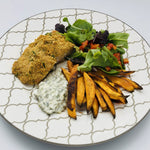 30' Crumbed Salmon With Sweet Potatoes for 2 or 4
