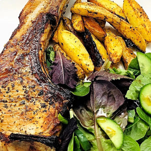Familychef 35' Aromatic Pork Chop With Potatoes & Salad plate