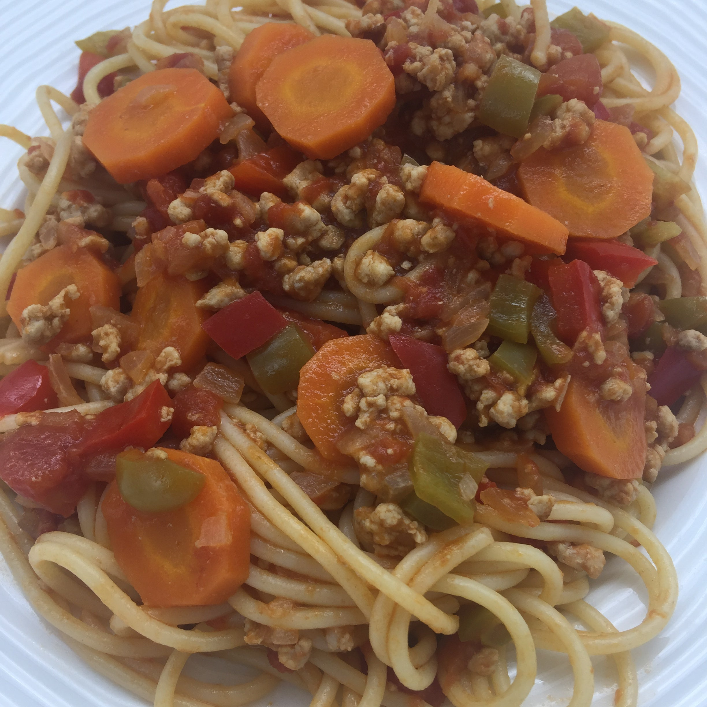 Familychef spaghetti with mince meat plate close up