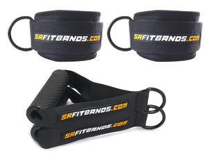 Training Accessory Kit | 2 Professional Grade Ankle Cuffs and 2 Handles