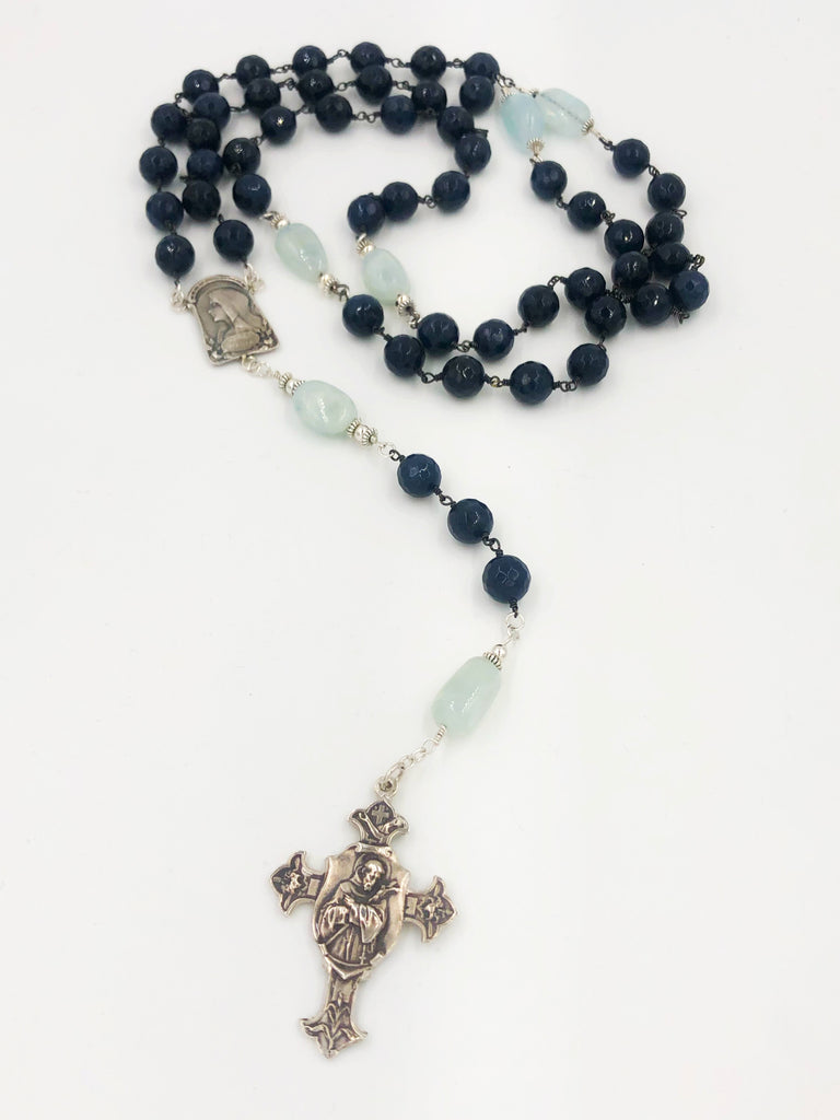 Grey Jade and Aquamarine Rosary