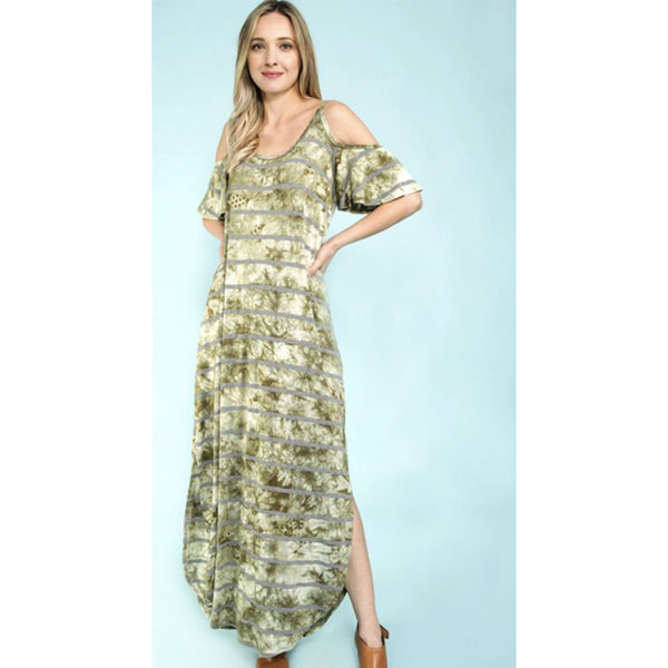 Army Green with Charcoal Stripes Maxi Dress - DRESSES