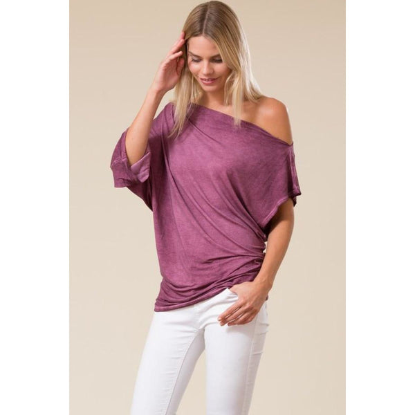 Asymmetrical Dolman Sleeve Tie Dye Tunic Top - Best YOU by HTS