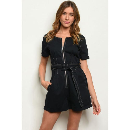 Belted Navy Romper - Best YOU by HTS