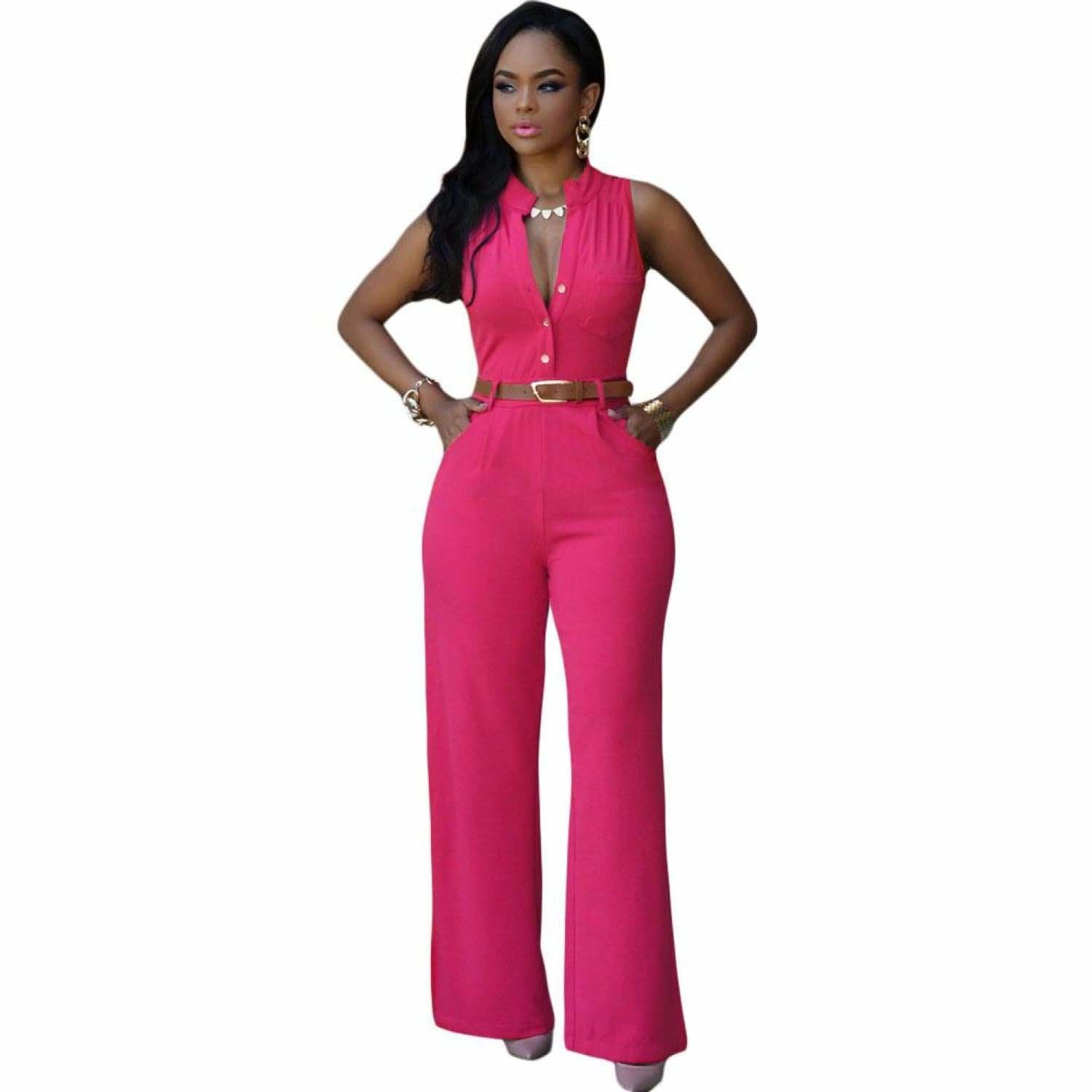 Belted Wide Leg Jumpsuit - Best YOU by HTS