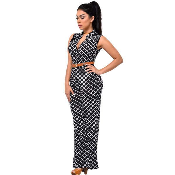 Belted Wide Leg Jumpsuit - OUTFITS