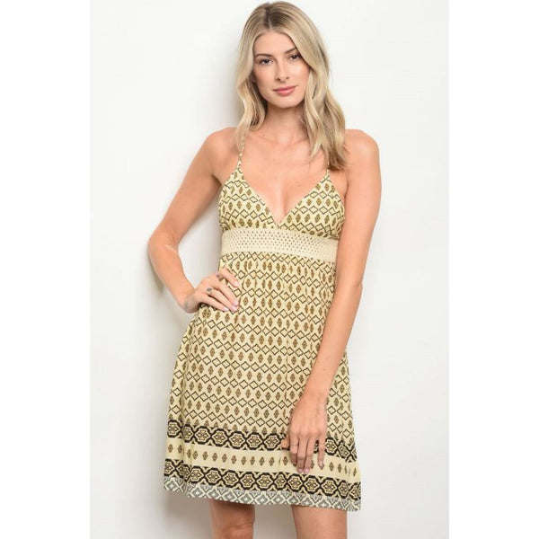 Black and Beige Summer Dress - DRESSES