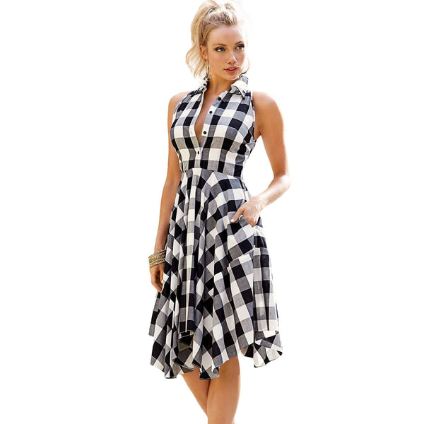 Black and White Plaid Shirt Dress - Best YOU by HTS