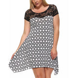 Black and White Printed Shift Dress Plus - DRESSES