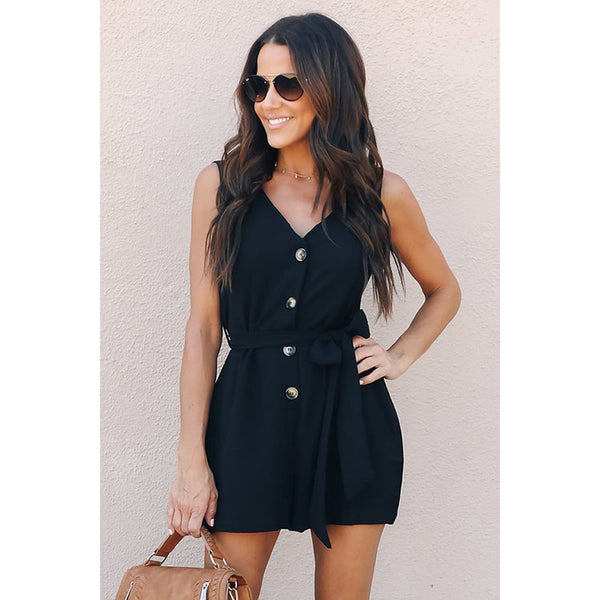 Black Buttoned Up Belted Romper - Best YOU by HTS