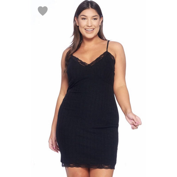 Black Cami Plus Size Dress - DRESSES