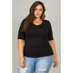 Black Curvaceous Plus Size Tee Top - Best YOU by HTS