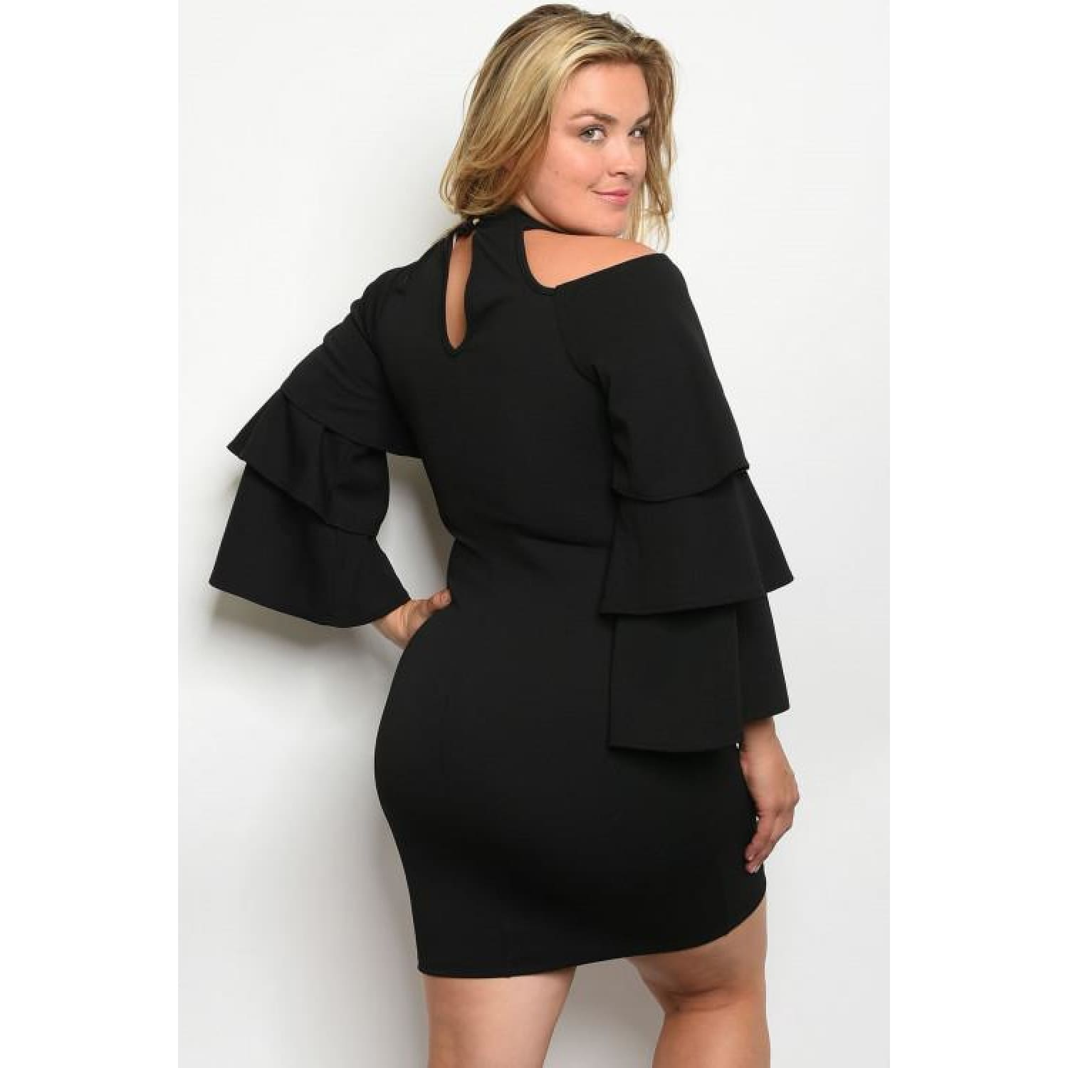 Black Plus Size Dress With Cold Shoulder Cutout - DRESSES