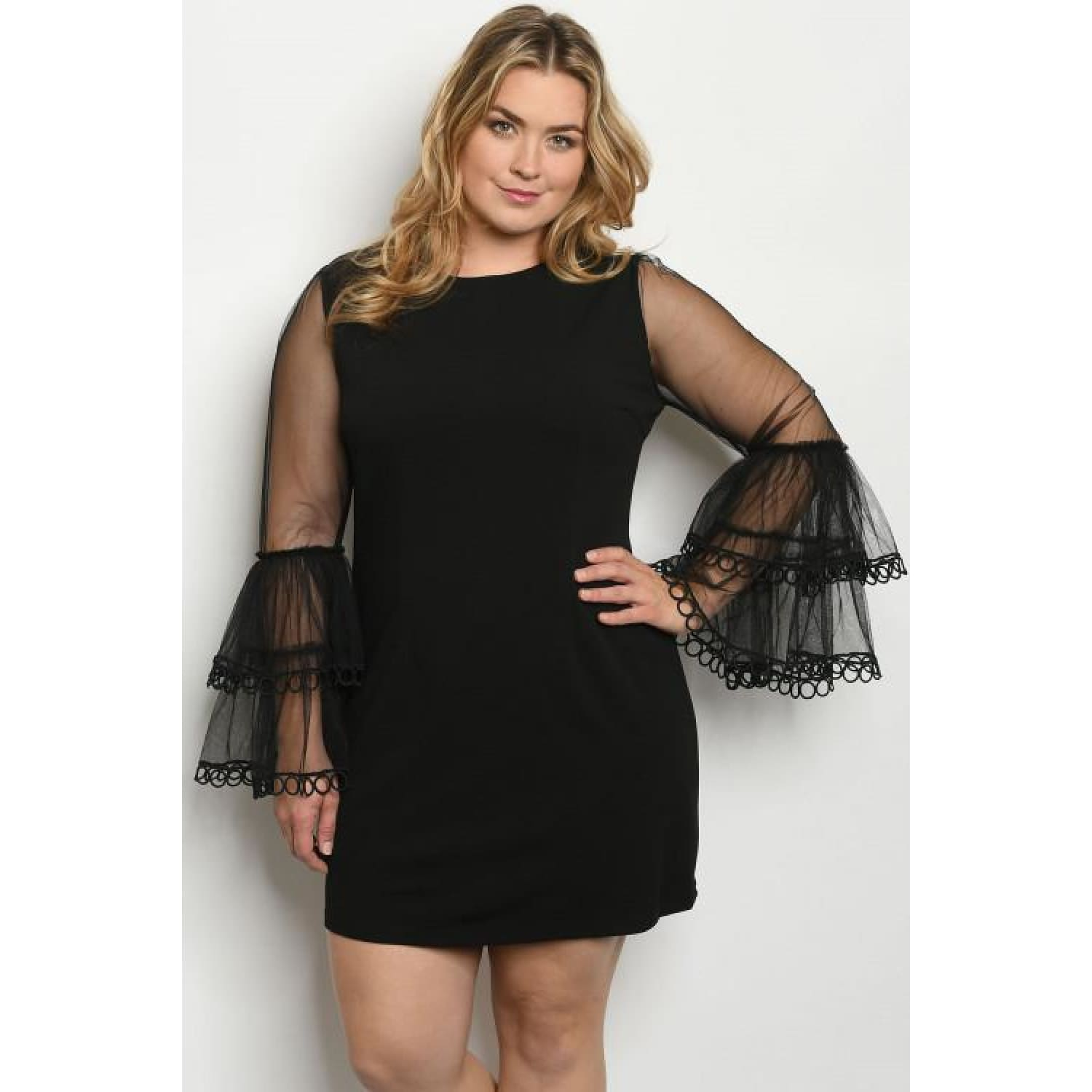 Black Plus Size Dress With Mesh Sleeves - DRESSES