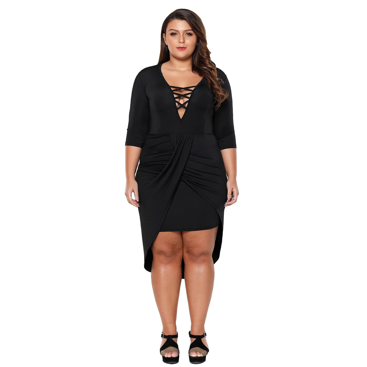 Black Plus Size Plunge Cross Strap Surplice Bodycon Dress - Best YOU by HTS