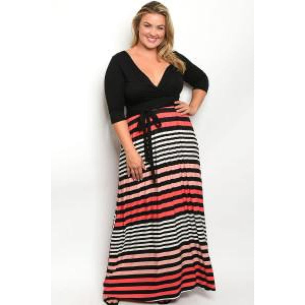 Black Stripes Plus Maxi Dress - DRESSES