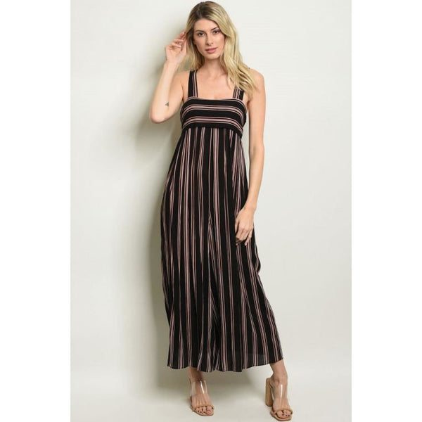 Black Wide Leg Striped Jumpsuit - Best YOU by HTS