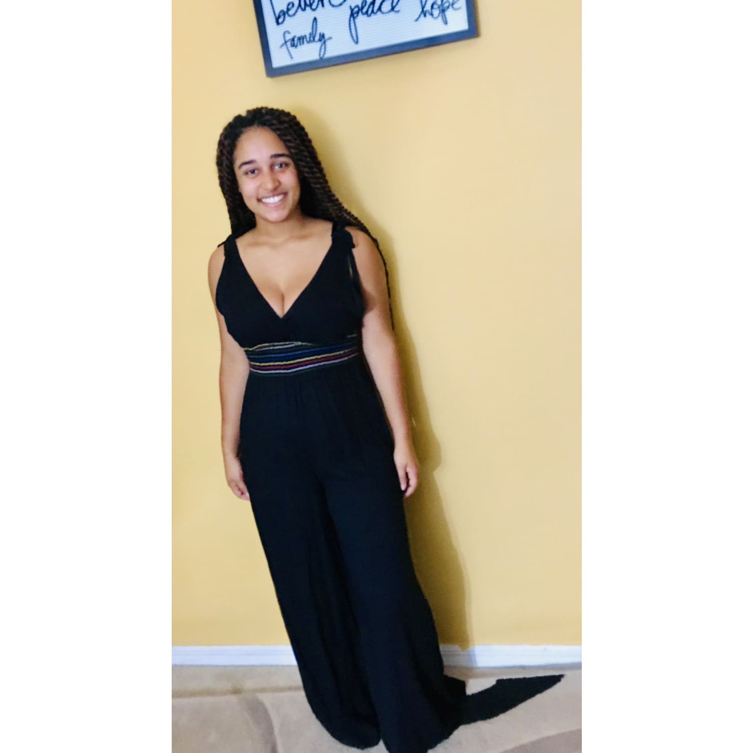 Black Wide Leg Waist Design Jumpsuit - OUTFITS