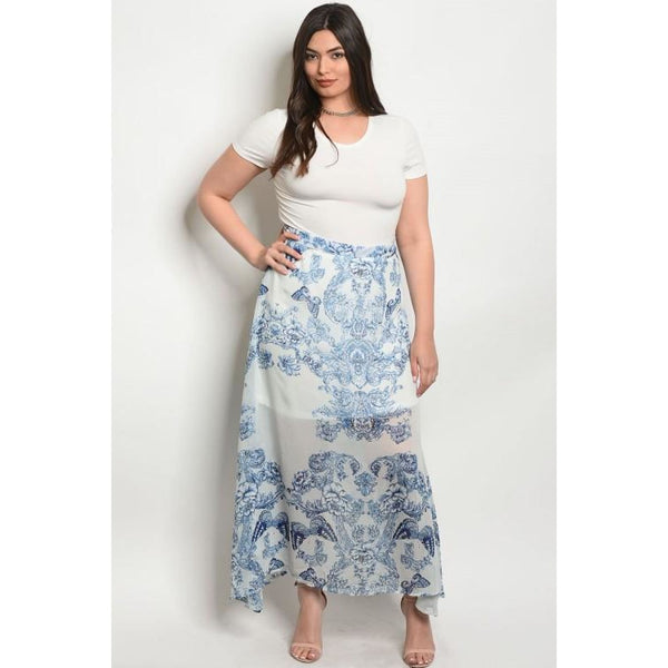 Blue and White Plus Butterfly Skirt - Best YOU by HTS