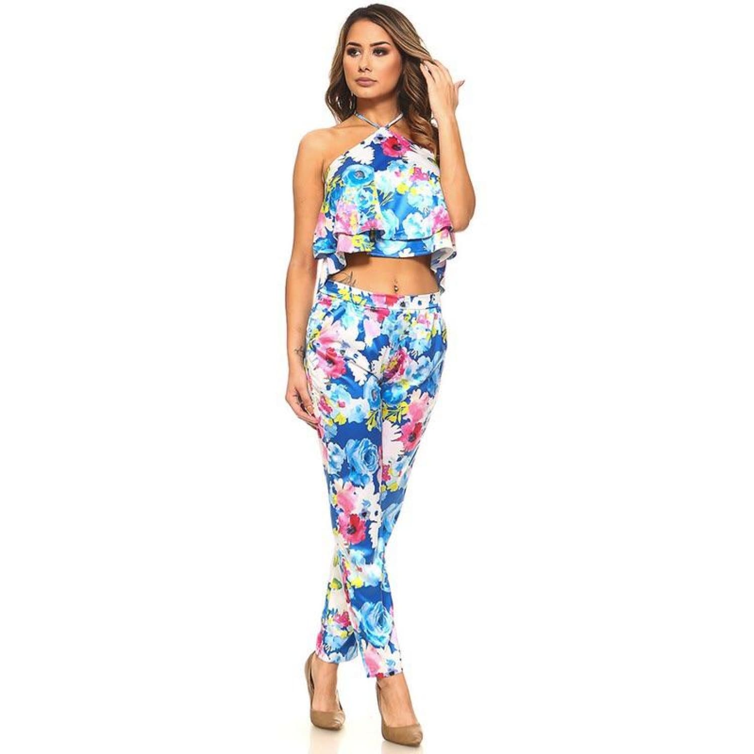 Blue Floral Halter Top and Pants Set - Best YOU by HTS