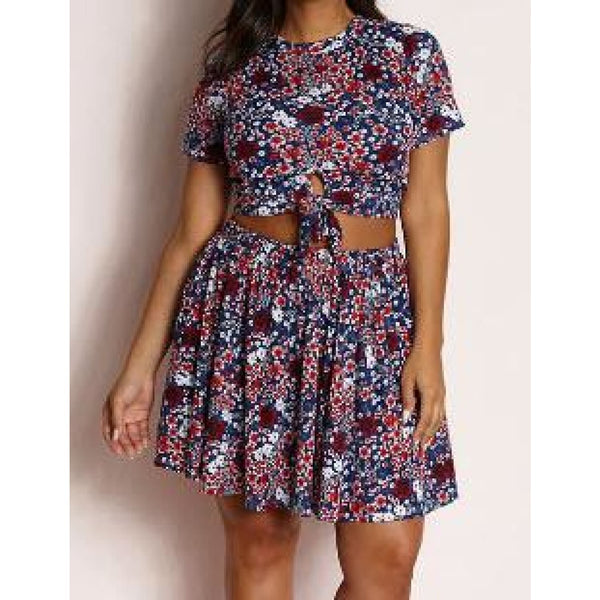Blue Floral Skater Skirt Set - Best YOU by HTS