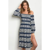 Blue White Black Print Dress - Best YOU by HTS