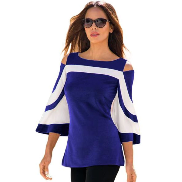Blue White Colorblock Bell Sleeve Cold Shoulder Top - Best YOU by HTS