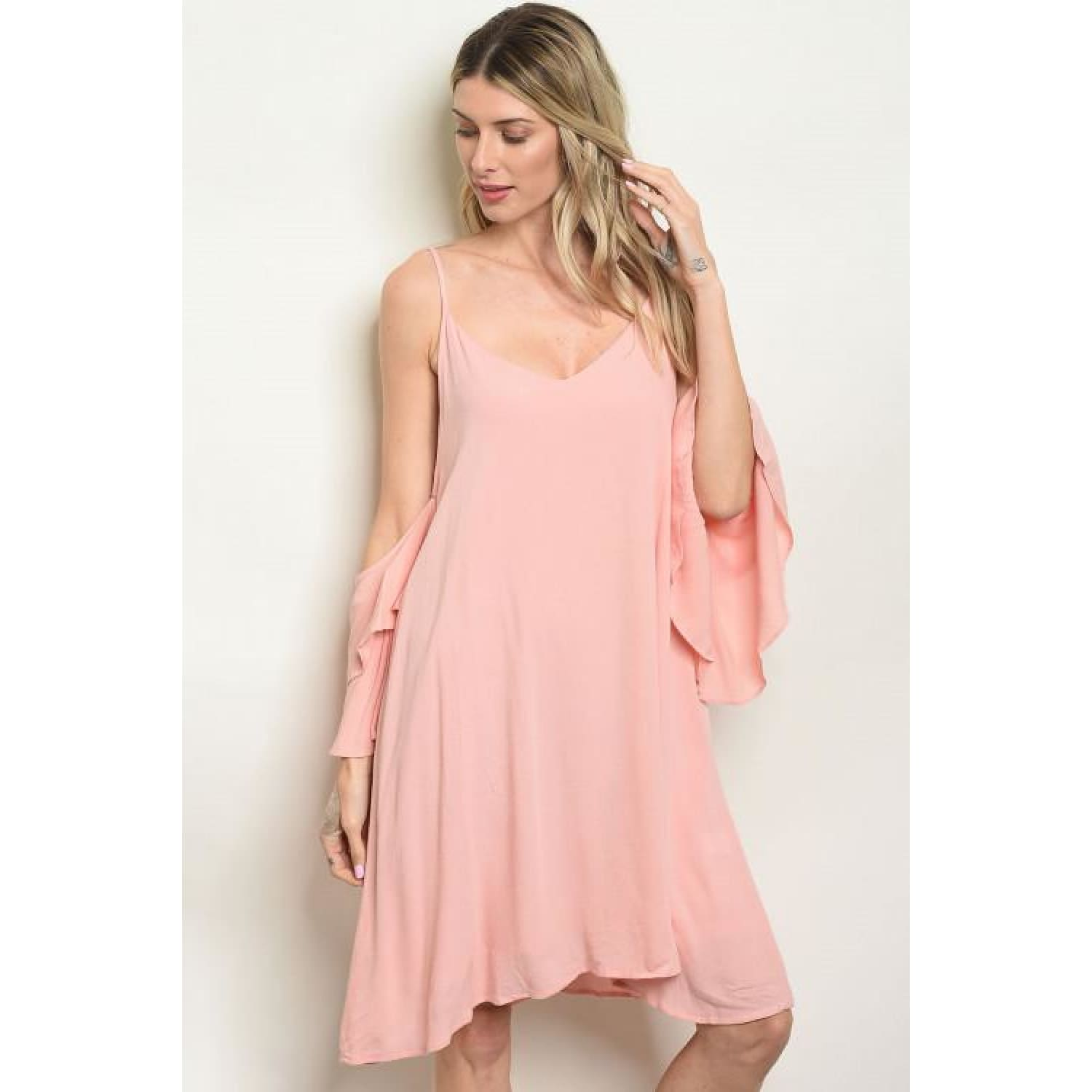 Blush Cold Shoulder Tunic Dress - DRESSES