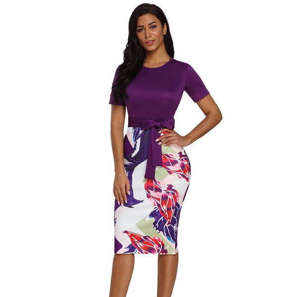 Bowknot Short Sleeve Printed Sheath Dress - Best YOU by HTS