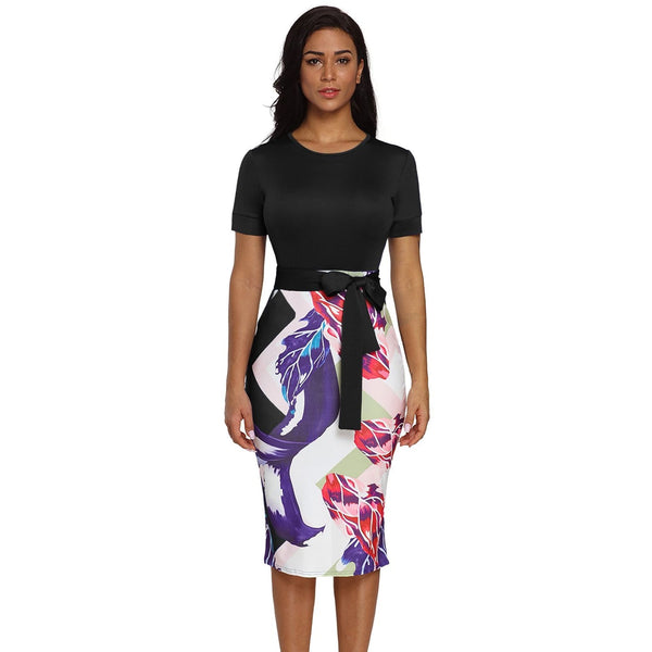 Bowknot Short Sleeve Printed Sheath Dress - Plus Size - Best YOU by HTS