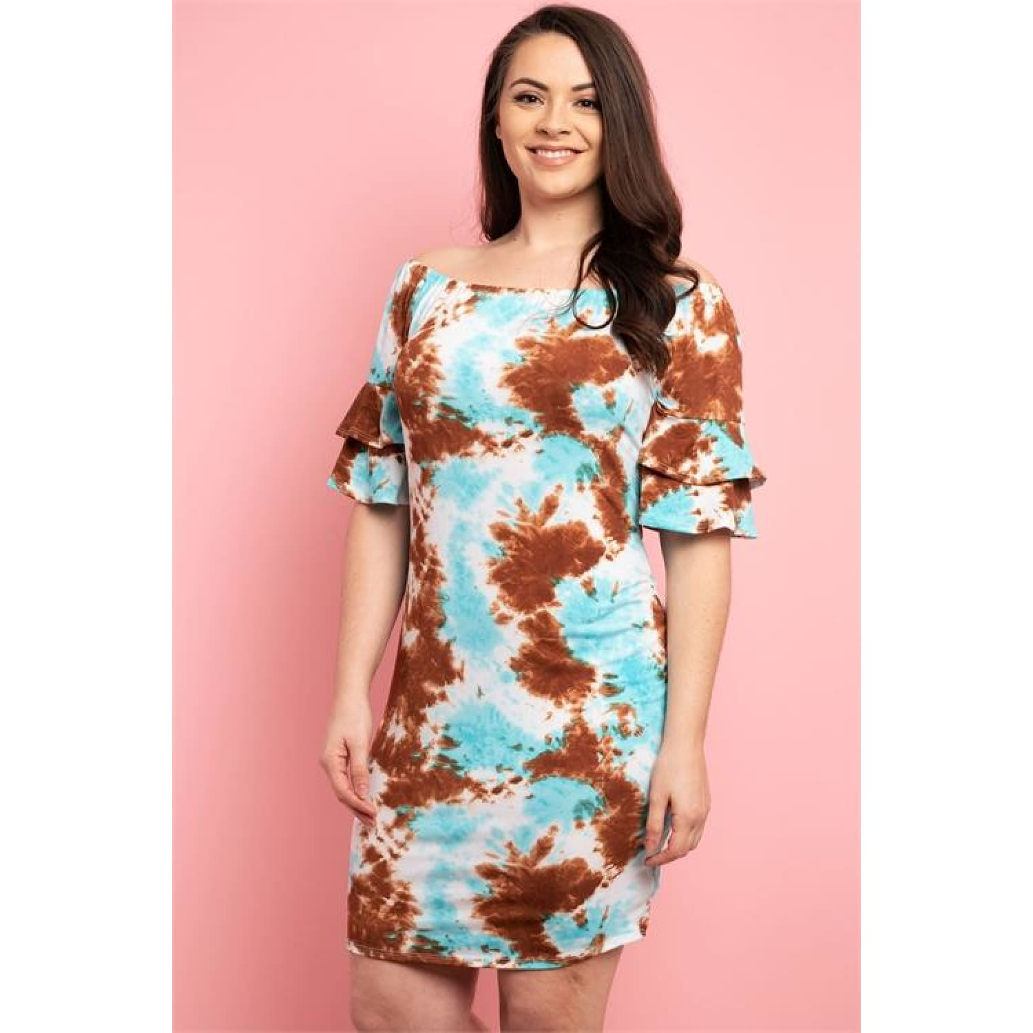 Brown Blue Tie Dye Plus Size Dress - DRESSES