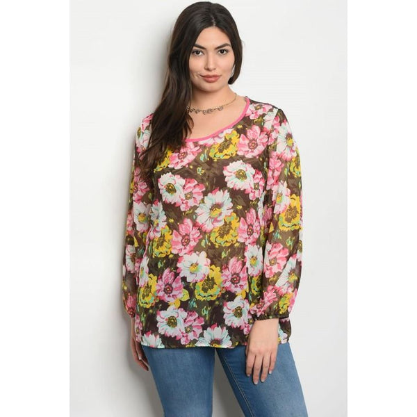 Brown Floral Plus Top - Best YOU by HTS