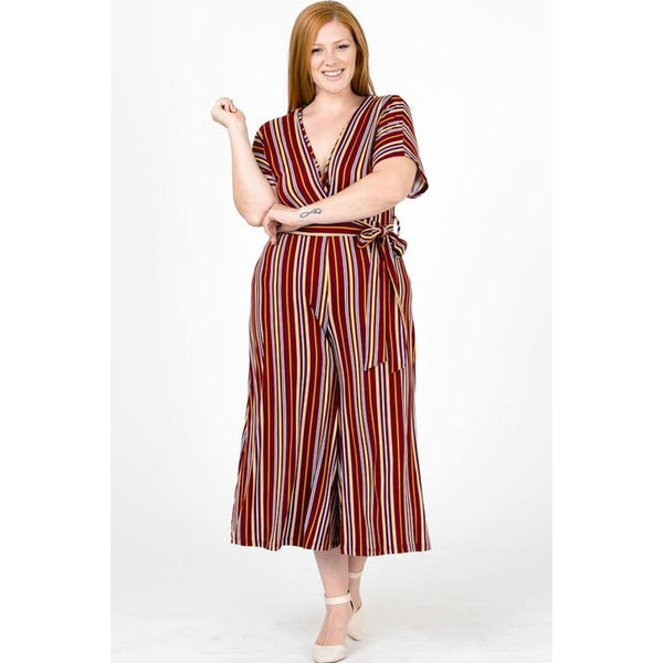 Burgundy and Mustard Striped Plus Size Jumpsuit - Best YOU by HTS