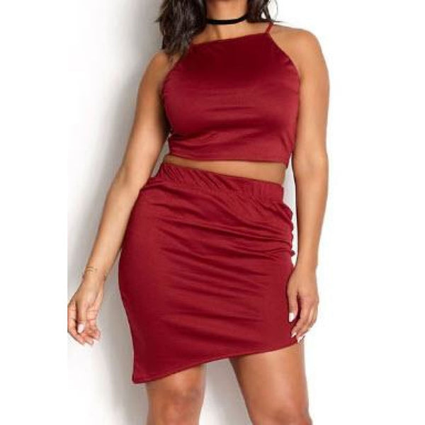 Burgundy Mini Skirt Set - Best YOU by HTS
