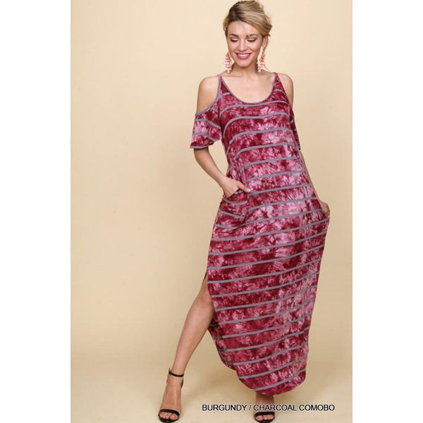 Burgundy with Charcoal Stripes Maxi Dress - Best YOU by HTS