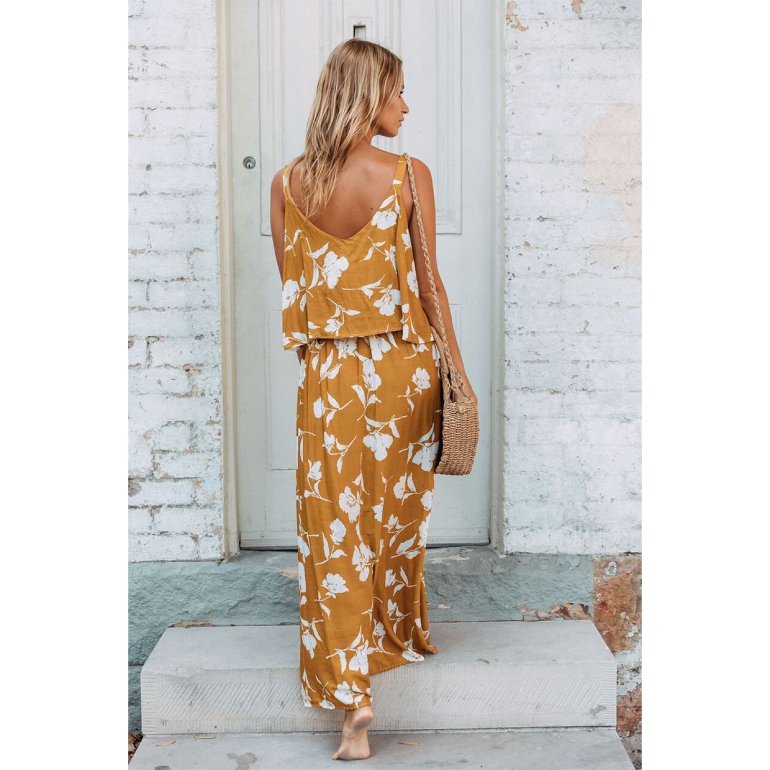 Chic Summer Boho Floral Maxi Dress in Mustard - Best YOU by HTS