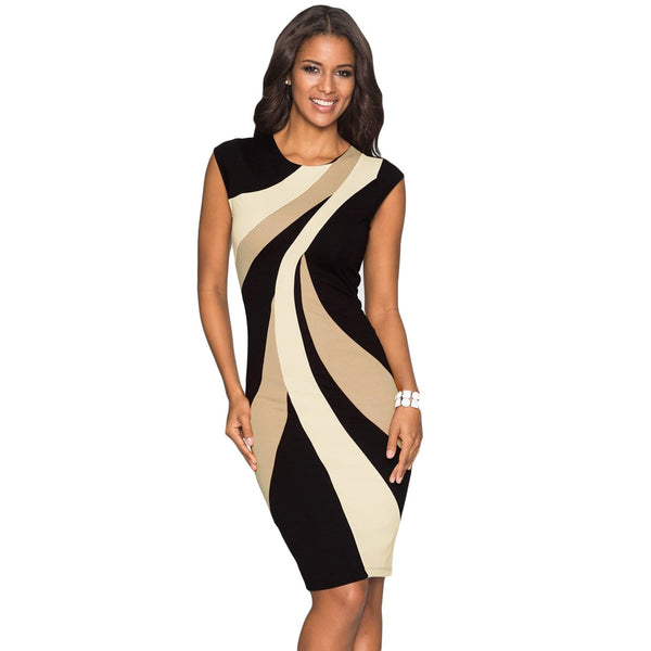 Colorblock Geometric Pattern Tube Dress - Best YOU by HTS