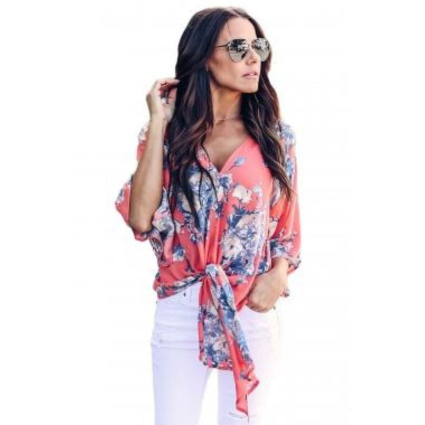 Coral Flowerlet Print Tie Front Sleeve Blouse - Best YOU by HTS
