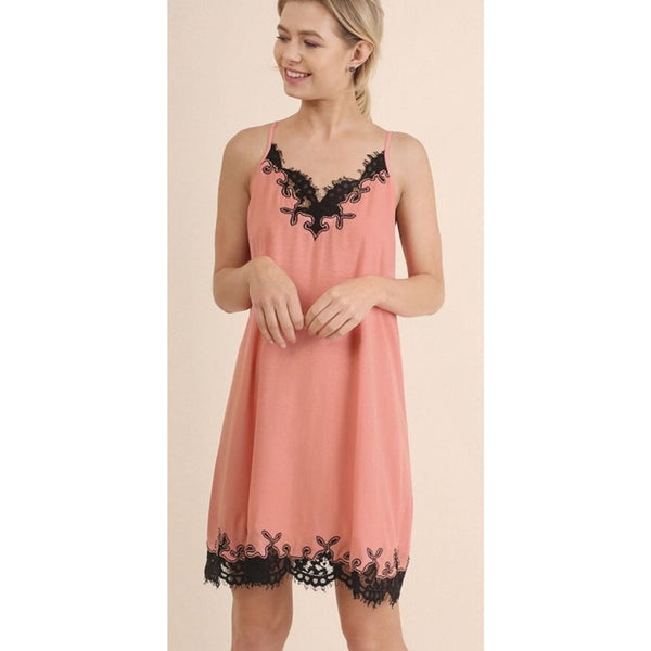 Coral Lace Trim Dress - DRESSES